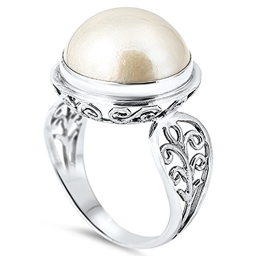 Sterling Silver Stunning Women's Cultured Freshwater Pearl Filigree Ring (Sizes 5-11) (Ring Size 10) (Pearl Ring Size 10 compare prices)