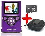 Kodak ZM2 purple Mini HD Video Camera Waterproof Digital Camcorder +4GB MicroSD +Case Bundle
