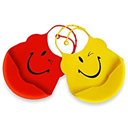Waterproof Silicone Baby Bibs Easily Rinse Clean & Air Dries Fast! Cute baby bibs are Gentle On Delicate Skin! Set of 2 Bibs With Food Catcher Pocket for Babies & Toddlers - Yellow & Red