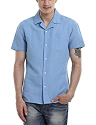 Zobello Men's Solid Camp Linen Shirt(11088D_Maya Blue_XX-Large)