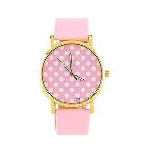 New Sweet Women Ladies Girls Quartz Small Dots Wrist Watch Wristband Dress Gift - Pink