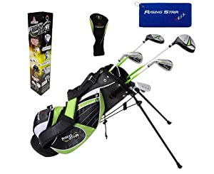 Paragon Rising Star Kids Golf Clubs Set Ages 8-10 Green With Hat by Paragon