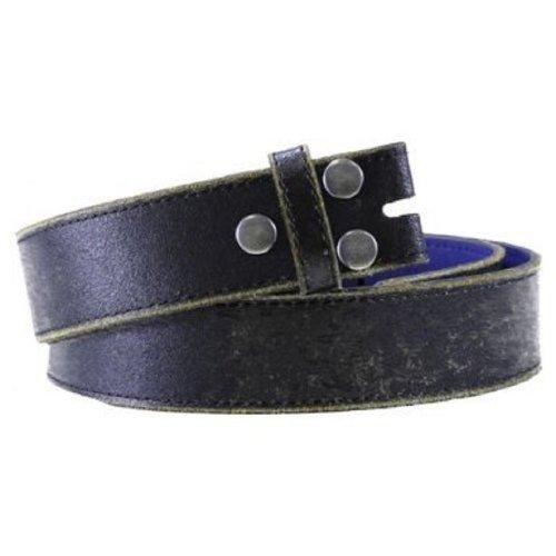 """Vintage Distressed Black Leather Snap on Belt Medium (34-36"""")"""