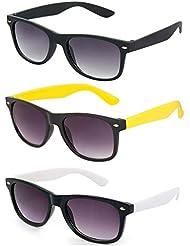 Freakii Combo Of 3 Amazing Wayfarer Sunglasses Black , Black White And Black Yellow With UV And Glare Protection...