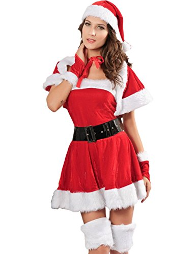 Born Miss Sexy Party Fancy Santa Dress Xmas Claus Costume Outfit Cappa