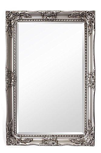 Silberner-Shabby-Chic-Spiegel-Massivholz-Handgefertigt-Barock-Gro-120-x-80-cm-Silber