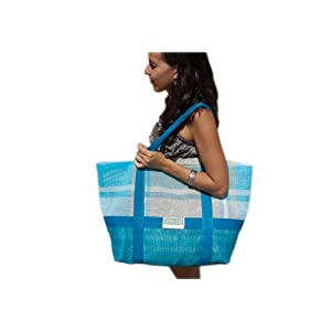 CGear Sand-Free Tote Bag (15 x 17 x 7.5-Inch, Blue Plaid)