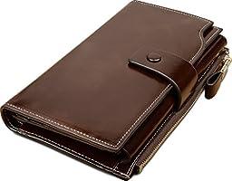 YALUXE Women\'s Large Capacity Luxury Wax Genuine Leather Wallet With Zipper Pocket Coffee Brown