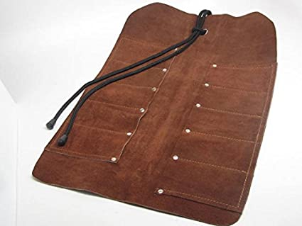 Leather Tool Roll Small Item 10 Pocket Leather Tool Roll