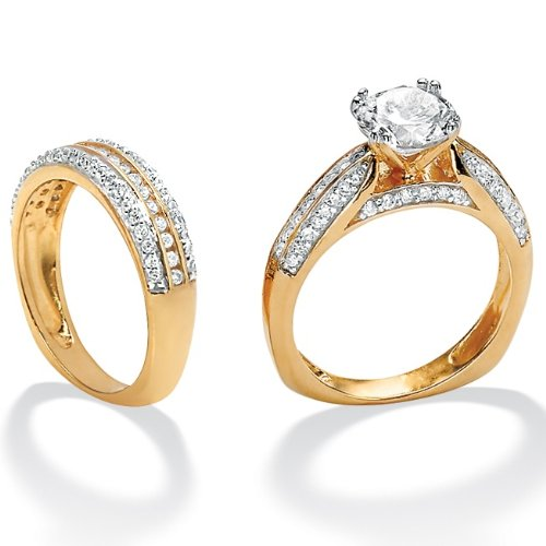Sterling Silver and 18k Gold over Sterling Silver DiamonUltraTM Cubic Zirconia Wedding Ring Set