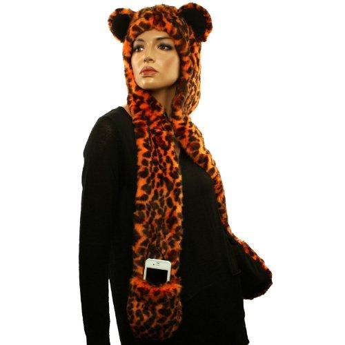 With Headphones Speakers Winter Faux Leopard Fur Trapper Pocket Ski Hat Orange