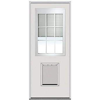 National Door Company Erpf681bl210l Entry Door Rehung Left Hand Internal Mini Blinds With Pet