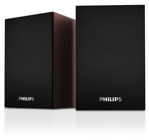 Philips SPA20/12 PC-Lautsprecher 2.0 (3 Watt RMS, 3,5mm Klinkenstecker, USB 2.0) schwarz