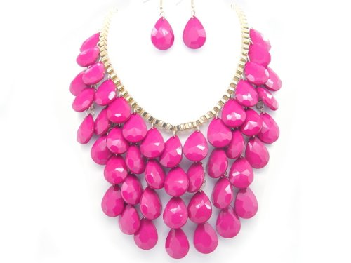 Tear Drop Bubble BIB Necklace Set - HOT PINK COLOR