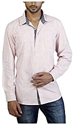 Repique Men's Botton Front Cotton Shirt(Seb-116,Pink,X-large)
