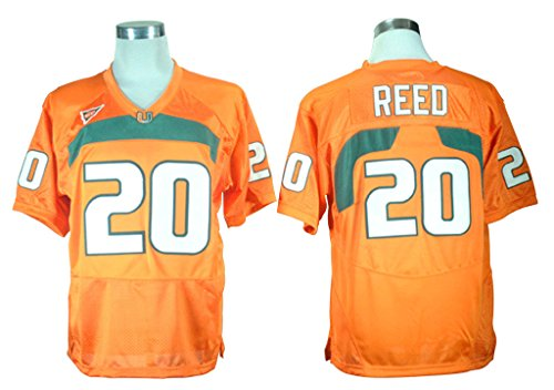 2016-2017 New Ed Reed 20 College Football Jersey Mens Orange M/48 (Miami College Football Jersey compare prices)
