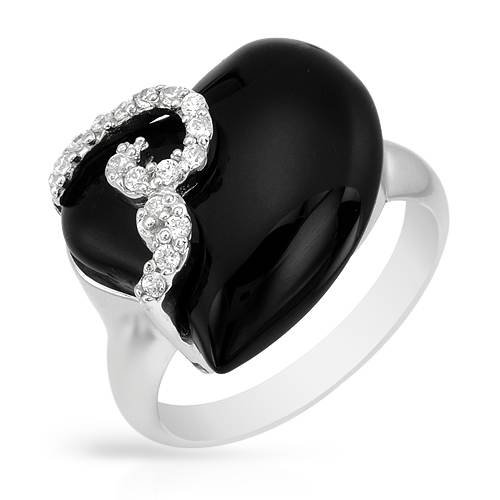 Heart Ring With Cubic zirconia and Onyx Beautifully Designed in 925 Sterling silver. Total item weight 6.0g (Size 7)
