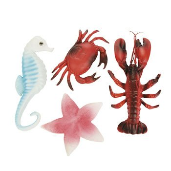 Sea Life Creatures Luau Party Plastic Decor (Pack of 4) Lobster, Seahorse, Crab &  Starfish