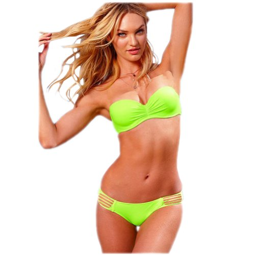 Aileen88 Women Fashion Sexy 2PCS Bikini Set Swimsuit Swimwear Bathing Suit Green image