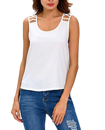 Booty Gal Women's Sexy Hollow out Draped Back Sleeveless Clubwear Top (M, White)