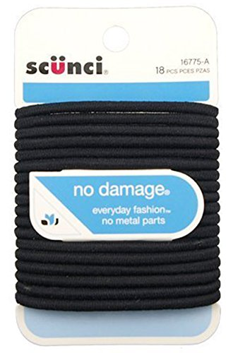 Scunci No Damage Elastic Hair Bands, Black, 18 ct, Large by Conair (Conair Hair Roll compare prices)
