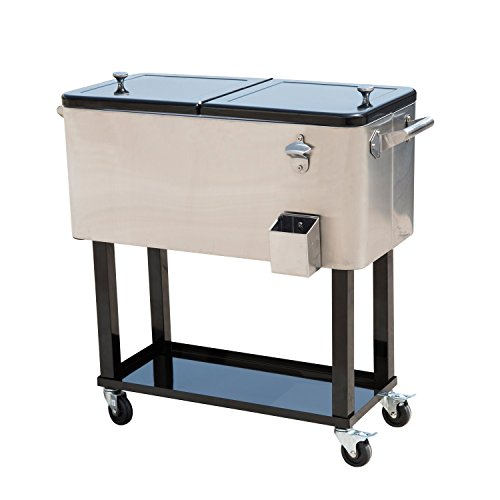 Outsunny B2-0012 Rolling Ice Chest Portable Patio Party Drink Cooler Cart, 80-Quart, Stainless Steel (Outdoor Patio Beverage Cart compare prices)
