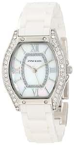 Anne Klein Women's 10/9867MPWT Ceramic Swarovski Crystal Accented Silver-Tone White Ceramic Watch
