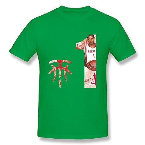 AHOO Men's T-shirt Tracy McGrady #1 Logo Houston Rockets ForestGreen Size XS
