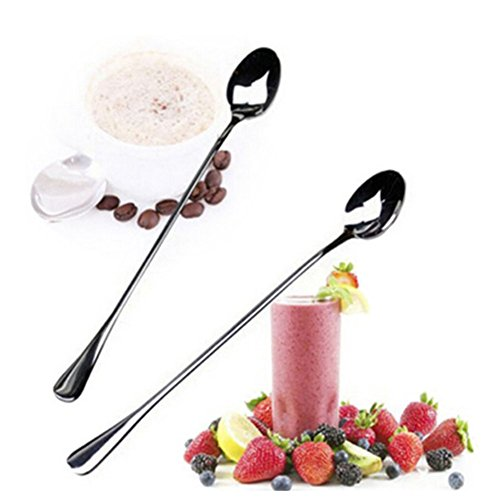 Adarl 2PCS Long Handle Stainless Steel Tea Coffee Spoons Ice Cream Cutlery