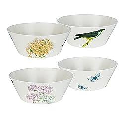 LAGUTE Medium Size Melamine Salad Mixing Bowl Set, Dishwarer-Safe Bowls of 4 Set with BPA Free Material and Kids Friendly