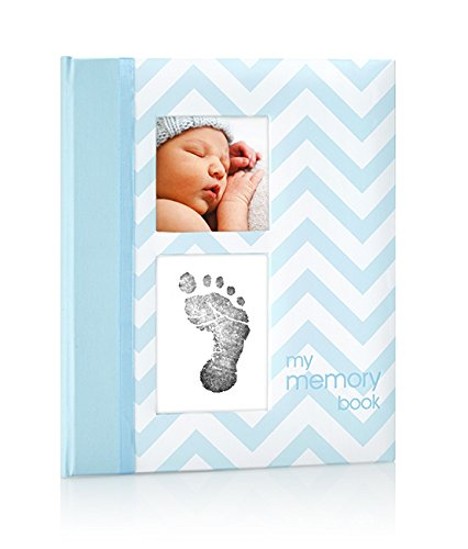 Pear Head Pearhead Chevron Baby Book With Clean Touch Ink Pad Included, Blue