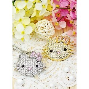 High Quality 4 GB Hello Kitty Shape Crystal Jewelry USB Flash Memory Drive Necklace (silver) by T &  J