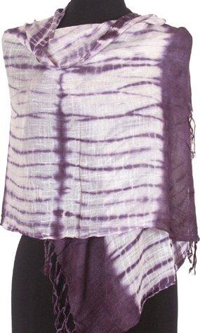 FUTieDyeNO36 Lightweight Gauzy Tie Dye Fashion Fringe Scarf / Sash / Wrap / Belt - Purple