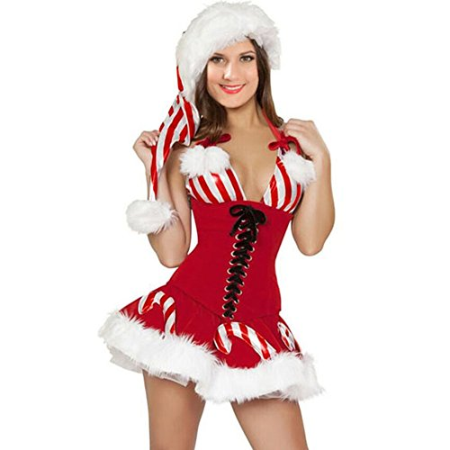 PEGGYNCO Christmas Womens Sexy Dress Candy Cane Corset Xmas Costume (Sexiest Marvel Women)