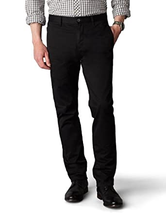 Dockers Men's Alpha Khaki Slim Tapered Flat Front Pant, Black, 28x28