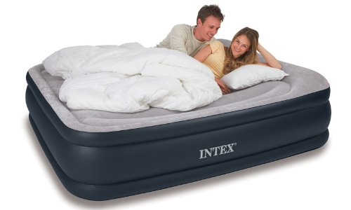 Intex Deluxe Pillow Rest Raised Airbed with Soft Flocked Top for Comfort, Built-in Pillow and Electric Pump, Queen, Bed Height 16 3/4""