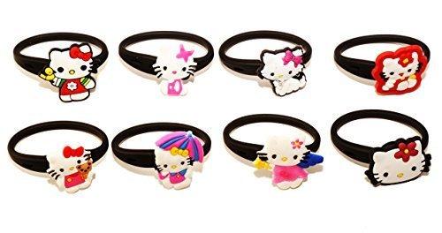 8 pezzi Hello Kitty # 1 Releasable Ponytail Staccabile Gomma Elastica Non Scivolare Capelli