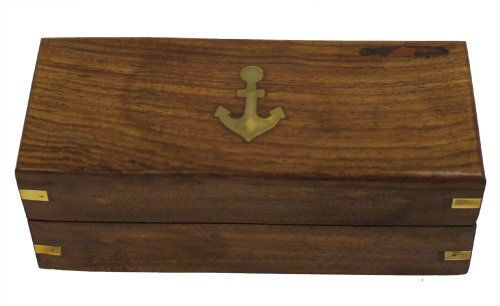 """15"""" Handheld Pirate Telescope with Wooden Box - Nautical Antique Finish 3"""