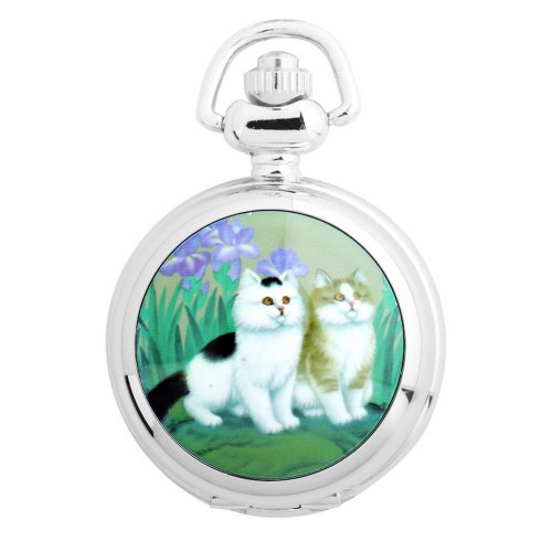 Yesurprise Vintage Ceramic Painting Style Necklace Pocket Chain Quartz Watch S3007 Cat Animal