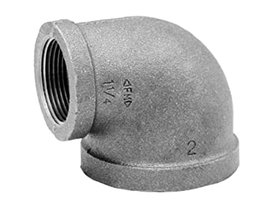 Anvil Malleable Iron Pipe Fitting, Class 150, 90 Degree Reducing Elbow, NPT Female, Black Finish