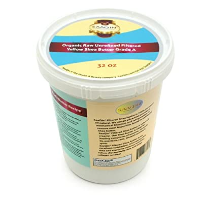 32oz. Organic Yellow FILTERED CREAMY Shea Butter By SaaQin®