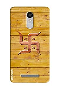 Omnam Swastik Printed on wooden background cover for Xiaomi Redmi Note 3