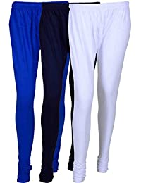 Cotton Leggings (Culture The Dignity Women's Cotton Leggings Combo Of 3_CTDCL_B1NvW_BLUE-NAVYBLUE-WHITE_FREESIZE)
