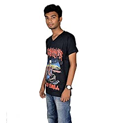 revin black with red colour graphic cotton vneck tshirt