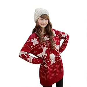 Women/girls Fashion Deer Maple Leaf Deer Jubilant Red Sweater