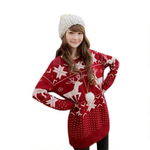 Women/girls New Fashion Deer Maple Leaf Deer Jubilant Red Sweater