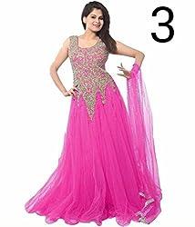 shubham creation women's pink JARI GOWN SOFT NET dress material