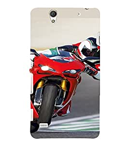 PrintVisa Sports Bike Design 3D Hard Polycarbonate Designer Back Case Cover for Sony Xperia C4 Dual