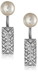 Rebecca Minkoff Pave and Pearl Two-Part Earrings