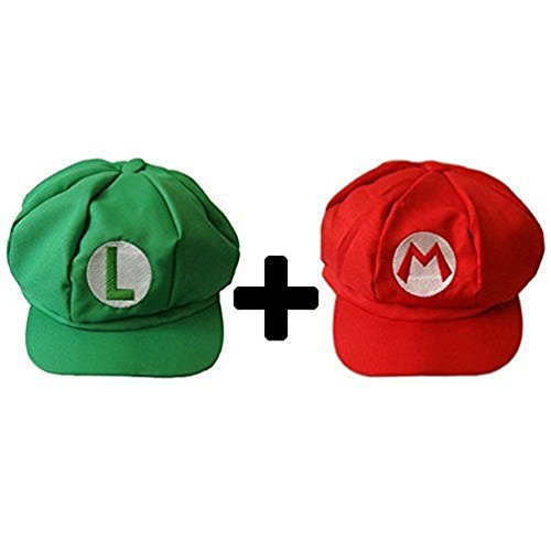 [2 pcs Super Mario Bros Hats Red and Green] (United States Postal Service Costume)